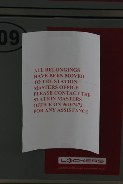 'All belongings have been removed' notice on the lockers at Flinders Street Station
