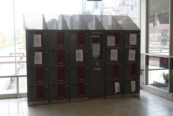 Recently installed lockers at Flinders Street Station now out of use