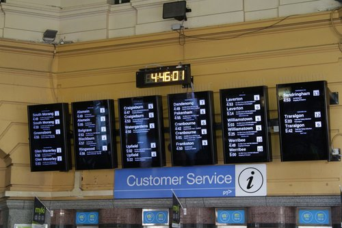 Redesigned layout for the 'main' next train summary boards at Flinders Street Station
