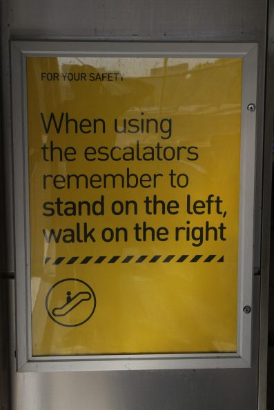 Metro Trains says keep the right hand side of the escalators free for walking