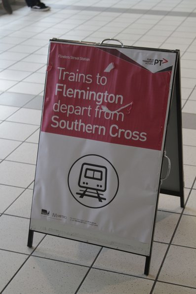 Notice of Flemington race trains departing from Southern Cross, not Flinders Street