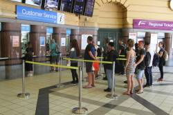 Queue at the suburban ticket office at Flinders Street Station