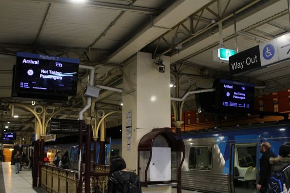 Next two departures from Flinders Street platform 6 and 7 are not taking passengers