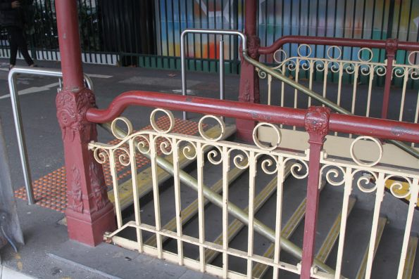 Wrought iron balustrades around the centre subway stairs at Flinders Street platform 10