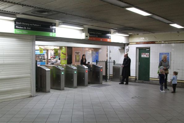 Ticket gates leading out into the Campbell Arcade subway