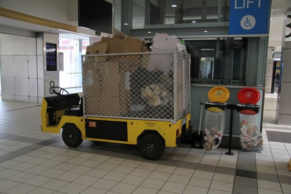 Electric buggy used to collect rubbish at Flinders Street Station