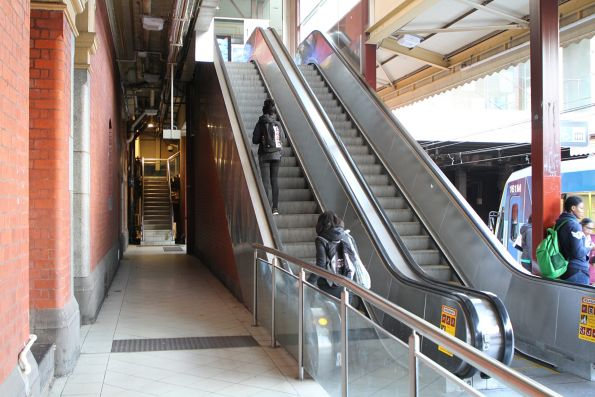 Escalators and stairs to the main concourse from Flinders Street platform 1
