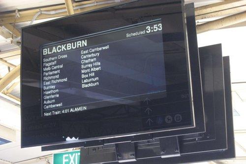 New next train display under trial at Flinders Street platform 4