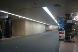 Degraves Street Subway, Flinders Street Station. Blocked off shops to the left where they dug through the roof
