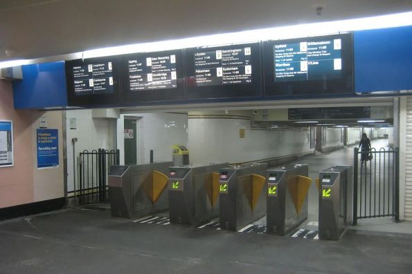 Metcard gates at the Degraves Street subway entry to Flinders Street Station