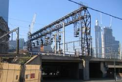Melbourne widest signal gantry, at Viaduct Junction: six tracks, plus a extra track or so span on either side