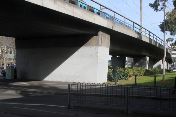 Transition between low profile beams at the east end, and the pair of deeper beams that support the rest of the double track viaduct