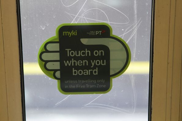 'Touch on when you board unless travelling only in the Free Tram Zone' sticker already in place