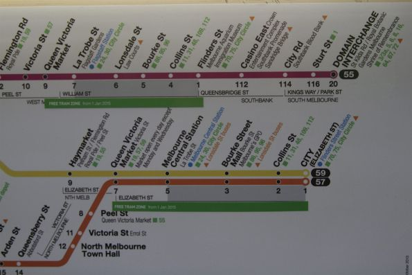 'Free Tram Zone - from 1 Jan 2015' notice already in place on route map stickers onboard trams