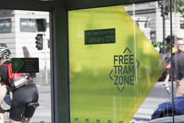 'Free Tram Zone' notice on a tram stop at La Trobe and William Streets