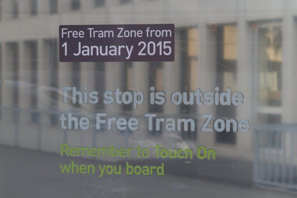 'This stop is outside the Free Tram Zone' notice outside Parliament Station