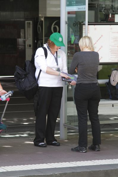 PTV staff promoting the new 'Free Tram Zone' to passengers at CBD tram stops