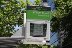 'Free Tram Zone' signage on the next tram display at Bourke and William Street