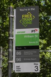 'Free Tram Zone' signage on a tram stop at Bourke and William Street