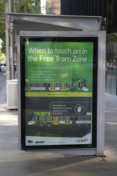 Advertisement on a Melbourne CBD tram stop, promoting how to use the new 'Free Tram Zone'