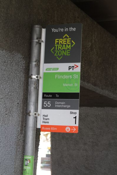 'You're in the Free Tram Zone' signage on route 55 at Flinders and Market Street