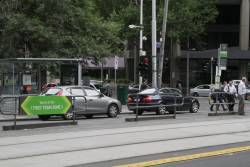 'You're in the Free Tram Zone' signage at Collins and King Street