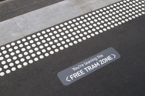 'You're leaving the Free Tram Zone' message at the Batman Park stop on Spencer Street