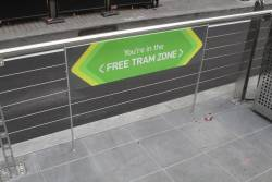 'You're in the Free Tram Zone' sign at the new Collins and William Street tram stop