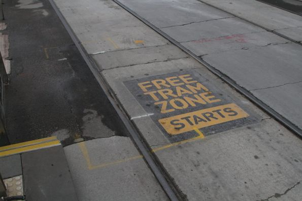 'Free Tram Zone starts' notice between the inbound tracks at Flinders and Spring Street