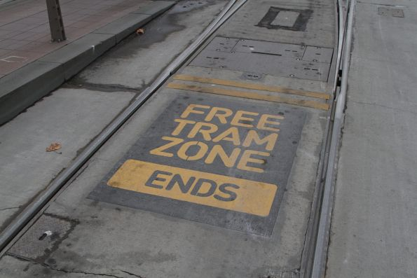 'Free Tram Zone ends' notice between the outbound tracks at Flinders and Spring Street