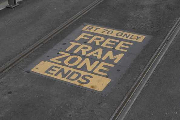 'Free Tram Zone Ends (route 70 only)' on Flinders Street eastbound