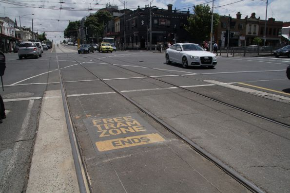 'Free tram zone ends' sign westbound on route 57 at Victoria and Peel Street
