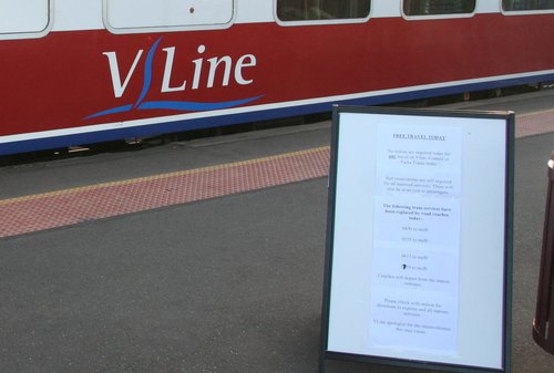 Signage at South Geelong for the free travel day on January 30