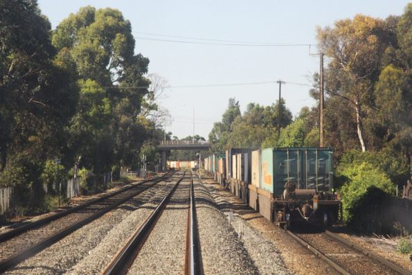 Tail end of the PN freight, still waiting for a path across the grade crossing at Torrens Junction