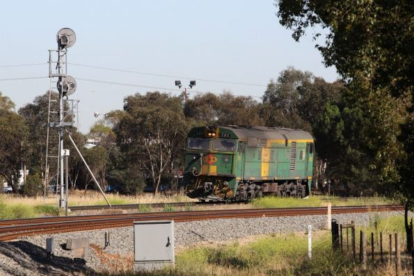 Waiting for the signal at Torrens Junction, 701 heads from Dry Creek to Keswick