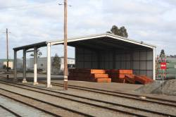 Girder framed shed at Shepparton, now with one and a bit sides walled in