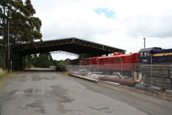 Korrumburra shed with a truss frame now used by the South Gippsland Railway to protect their carriages