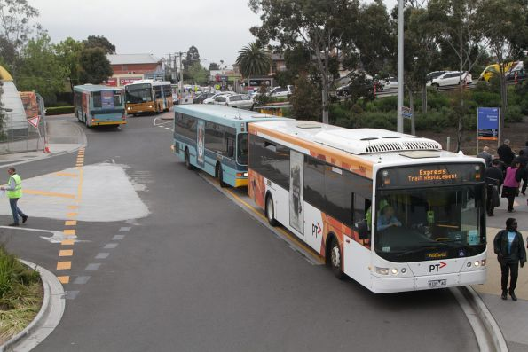 Buses carrying Sunbury line passengers use the temporary interchange at Sunshine
