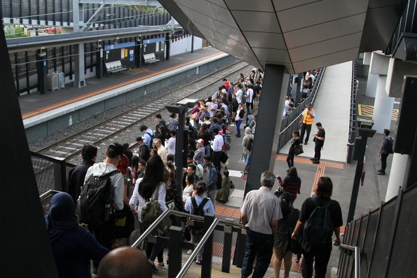 Passengers waiting for the next citybound service from Sunshine station
