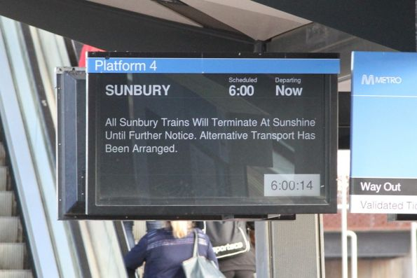 'All Sunbury trains will terminate at Sunshine' notice at North Melbourne