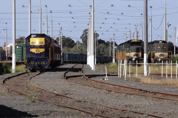The special train takes the Ballarat Siding through North Geelong Yard