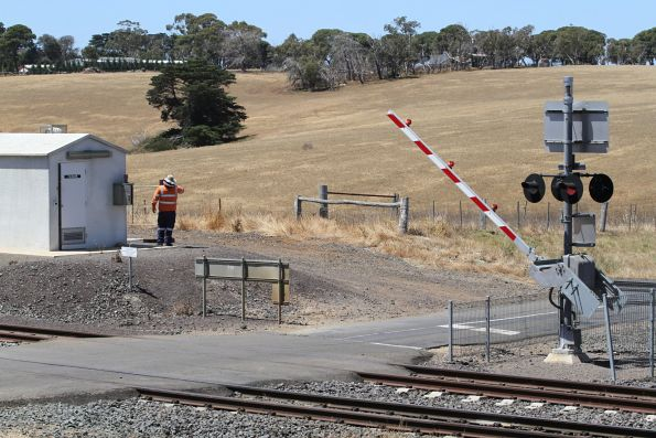 Safeworking staff trigger the boom gates at Moorabool