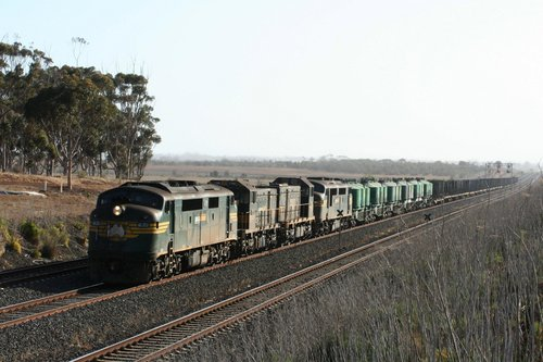 A77, T496, T400 and A78 on an up North Geelong freight near Little River