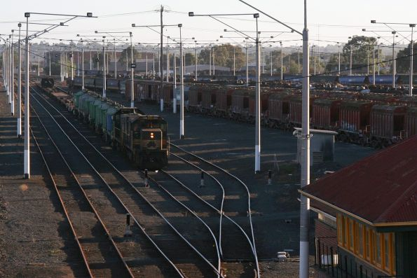 T374 and H2 await departure from North Geelong Yard