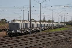 Rake of VPBX cement wagons stored at North Geelong Yard