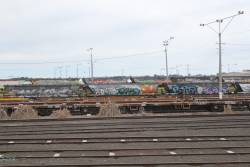VECX and VEKX HEP wired container flats stored at North Geelong Yard