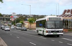 Benders #91 4356AO heads south along High Street on route 16, with a route 19 service following right behind