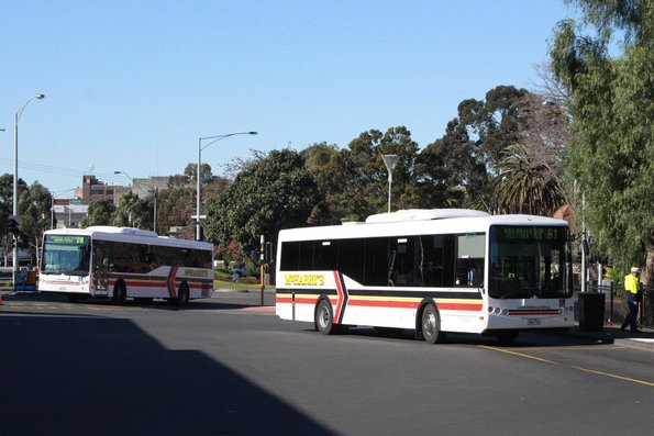 A pair of McHarry's buses arrive at Geelong station