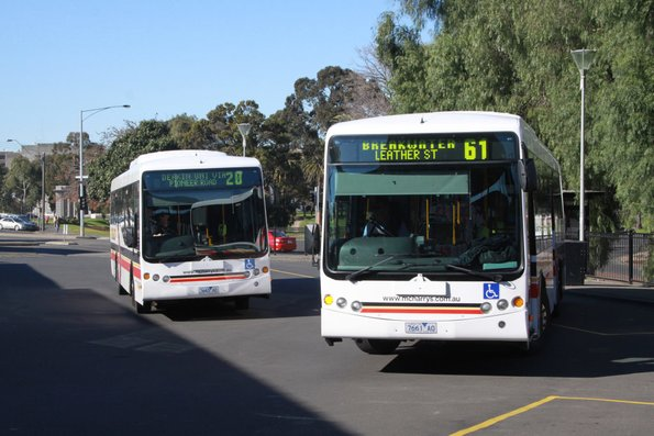 The route 61 bus pulls out first at Geelong station