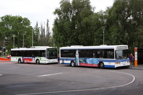 GTS liveried McHarry's and Benders buses pick up passengers at Geelong station